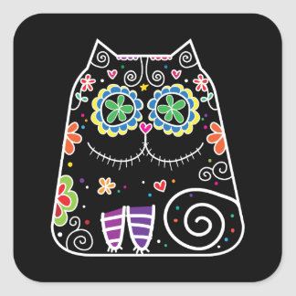 Black Cat Sugar Skull Square Sticker