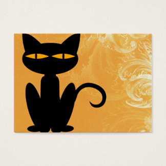 Black Cat Swirly Orange Business Card