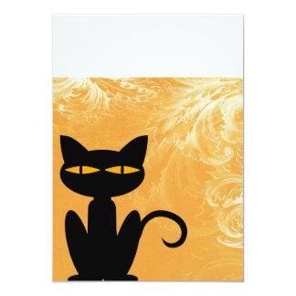 Black Cat Swirly Orange Invitation