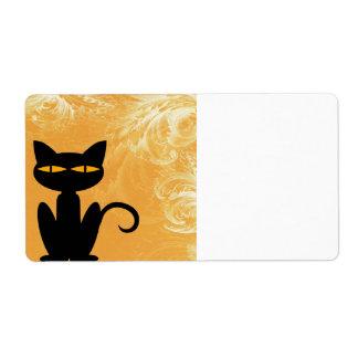 Black Cat Swirly Orange Label Shipping Label