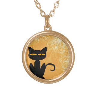 Black Cat Swirly Orange Necklace