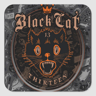 Black Cat Thirteen Halloween Square Sticker