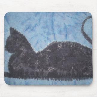 Black Cat Tie Dye PhatDyes Mouse Pad