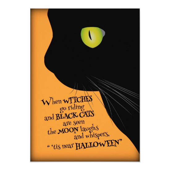 Black Cat 'Tis Halloween Party Invitation