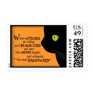 Black Cat 'Tis Halloween Party Postage