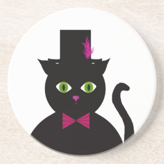 Black Cat Top Hat Pink Bow Coaster