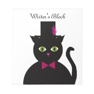 Black Cat Top Hat Pink Bow Notepad