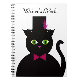 Black Cat Top Hat Pink Bow Spiral Notebooks
