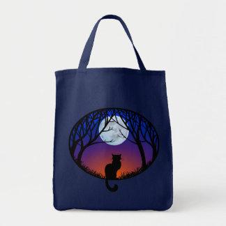 Black Cat Tote Bag Cat Grocery Bag Halloween