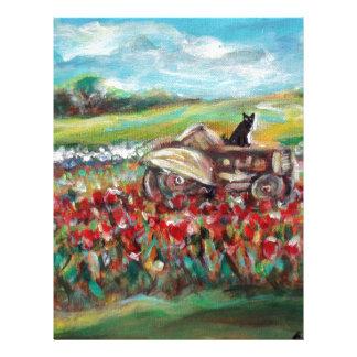 Black Cat tractor tulip field Letterhead