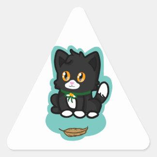 Black Cat Triangle Sticker