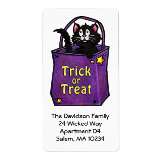 "Black Cat ""Trick or Treat"" Address Label"