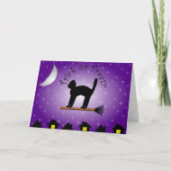 Black Cat Trick or Treat? Halloween Card card