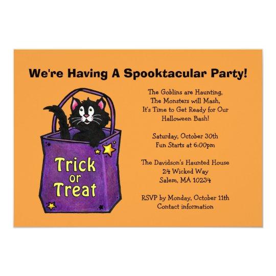 "Black Cat ""Trick or Treat"" Halloween Invite"