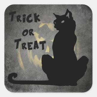 Black Cat Trick or Treat Halloween Sticker