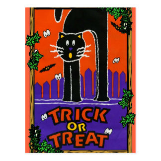 Black cat, trick or treat postcard