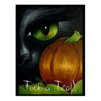 BLACK CAT TRICK OR TREAT Postcard