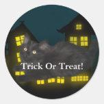 Black Cat Trick Or Treat Sticker Round Sticker