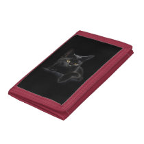 Black Cat TriFold Nylon Wallet
