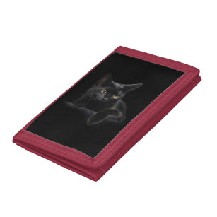 619721f29836c Black Cat TriFold Nylon Wallet