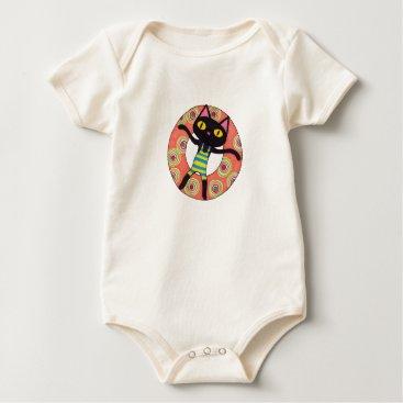 Beach Themed Black Cat Tubing Baby Bodysuit