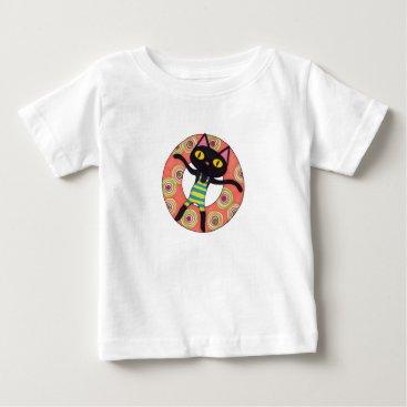 Beach Themed Black Cat Tubing Baby T-Shirt