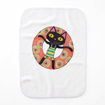 Beach Themed Black Cat Tubing Burp Cloth