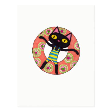 Beach Themed Black Cat Tubing Postcard