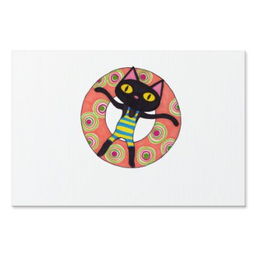 Beach Themed Black Cat Tubing Yard Sign
