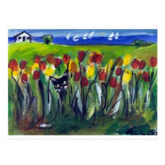 Black cat tulip town postcard