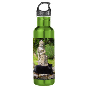 Black Cat Under Statue In Green Garden Water Bottle