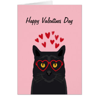 Elegant Black Cat Valentines Card Love Cats
