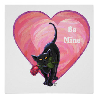 Black Cat Valentine's Day Poster