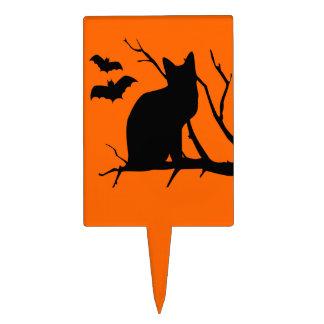 Black Cat Vampire Bats Halloween Cake Pick
