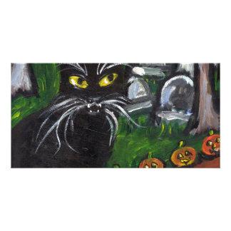Black cat Vampire Halloween art Custom Photo Card