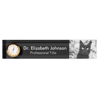 Black Cat Veterinarian Name Plate