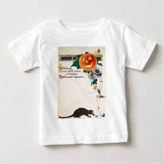 Black Cat (Vintage Halloween Card) Baby T-Shirt