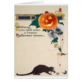 Black Cat (Vintage Halloween Card) Greeting Card