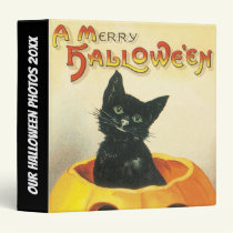 Black cat Vintage Halloween photo 3 Ring Binder