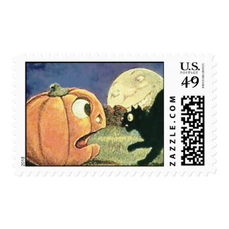 Black Cat Vintage Halloween Postage Stamp