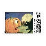 Black Cat Vintage Halloween Postage Stamp