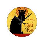 Black Cat Vintage Tournée du Chat Noir, Theophile Round Clock