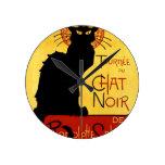 Black Cat Vintage Tournée du Chat Noir, Theophile Round Wall Clocks