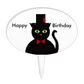 Black Cat w Top Hat Red Bow Cake Pick