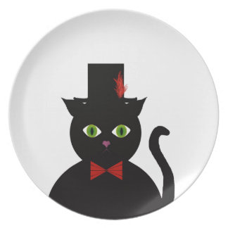 Black Cat w Top Hat Red Bow  Melamine Plate