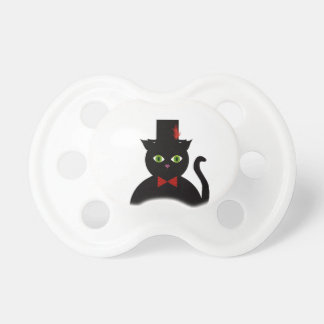 Black Cat w Top Hat Red Bow Pacifier BooginHead Pacifier