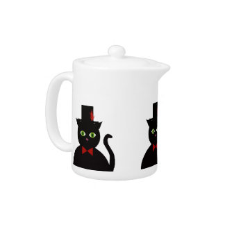 Black Cat w Top Hat Red Bow  Porcelain Teapot