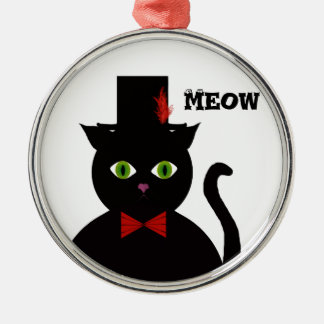 Black Cat w Top Hat Red Bow Round Ornament