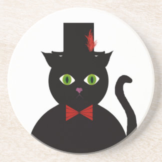 Black Cat w Top Hat Red Bow Sandstone Coaster