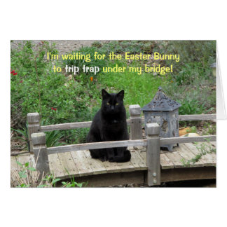 Black Cat Waiting on Bridge Easter Card